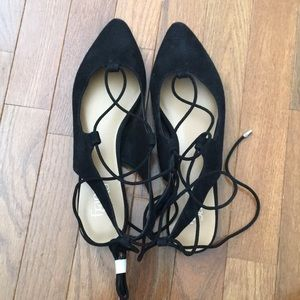 Black laced up suede flats/sandal