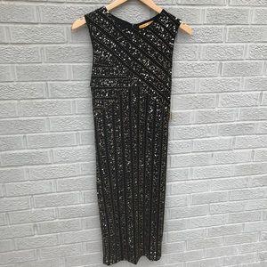 NEW Alice + Olivia Gold Sequin Midi Cocktail Dress