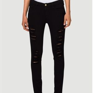 Frame Le Colour Ripped Black Skinny Jeans