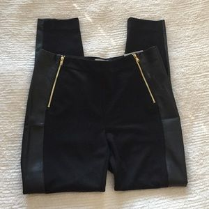 """Black Leggings w/ Gold Zipper and """"Leather"""" Detail"""