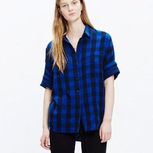 Madewell boxy Plaid blue and black top
