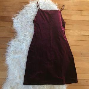 Vintage 90s Velvet Merlot Deep Red Dress Large