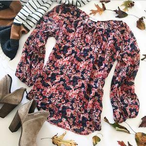 🆕 Joie Poppy Print Floral Silk Peasant Blouse XS