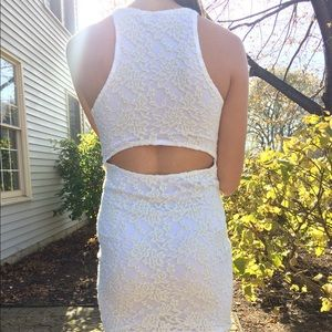 Cream and white lace body con