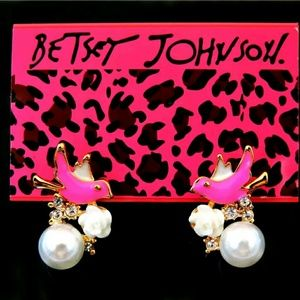 Betsy johnson bird with pearls stud earings