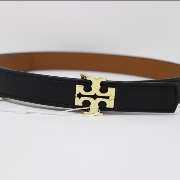7dc0f1db5d03 NWT AUTH Tory Burch reversible leather logo belt 1