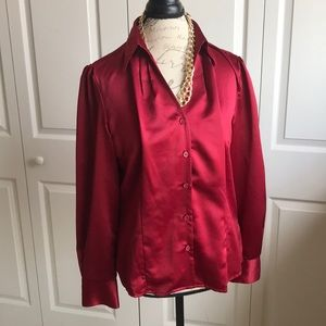 Gorgeous satiny red blouse size 12