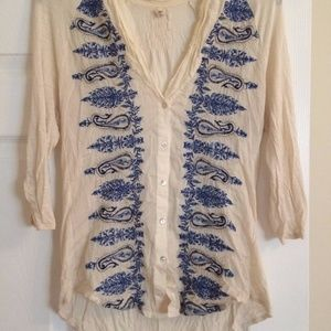 Anthropologie Tiny Paisley Trails Top