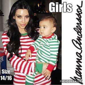 Hanna Andersson Holiday Long John Pajamas Size 14