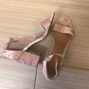 Never worn pink velvet bamboo shoes
