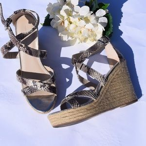 Banana Republic Strappy Snake Skin Wedge Espadrill