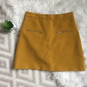 Zara • Mustard Zipper A-Line Skirt