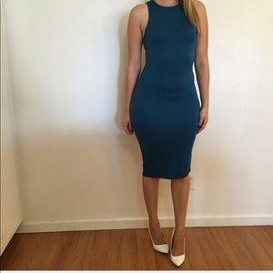 Dresses & Skirts - Teal Sleeveless Muscle Midi Dress