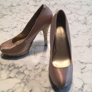 Madden girl sparkly gold and blush heels