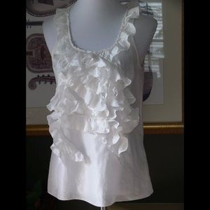 Banana Republic white ruffled silk tank