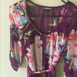 Purple floral Express dress with waist tie