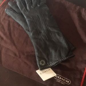 NWT COACH Logo Black Leather Cashmere Lined Gloves