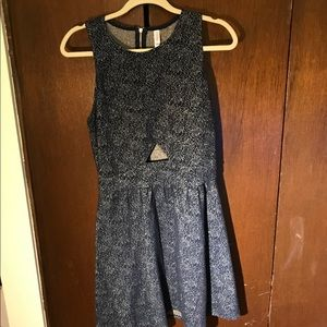 Xhiliaration silver and navy holiday dress