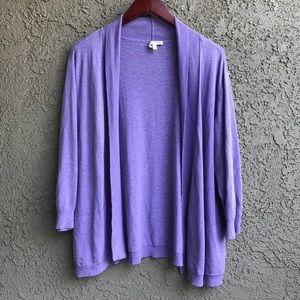 Eileen Fisher Lavender Cotton Linen Cardigan 2X