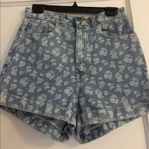 American Apparel High-Waisted Floral Shorts.
