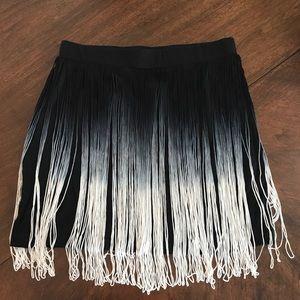 Black ombré fringe mini skirt