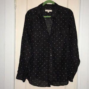 Loft button up heart design blouse
