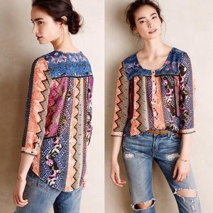 Anthropologie Patch Print Henley