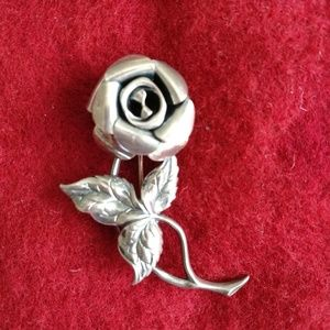 Vintage BEAU Sterling 1940s Rose Pin