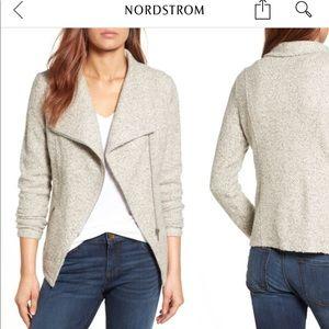 Gray knit moto jacket