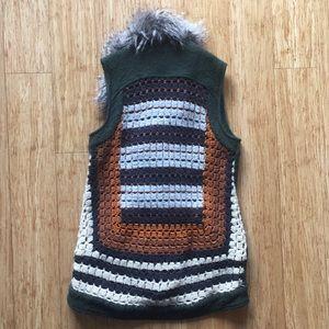 Crochet-back Elevenses wool vest