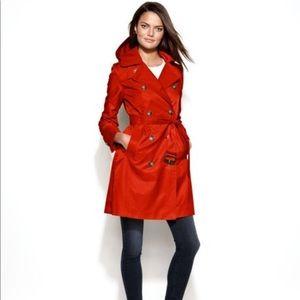 Shiny red London Fog Trench coat