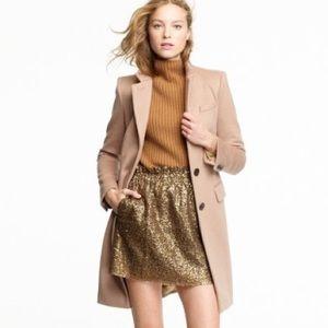 J. Crew Sequin mini stretch gold bell skirt 10