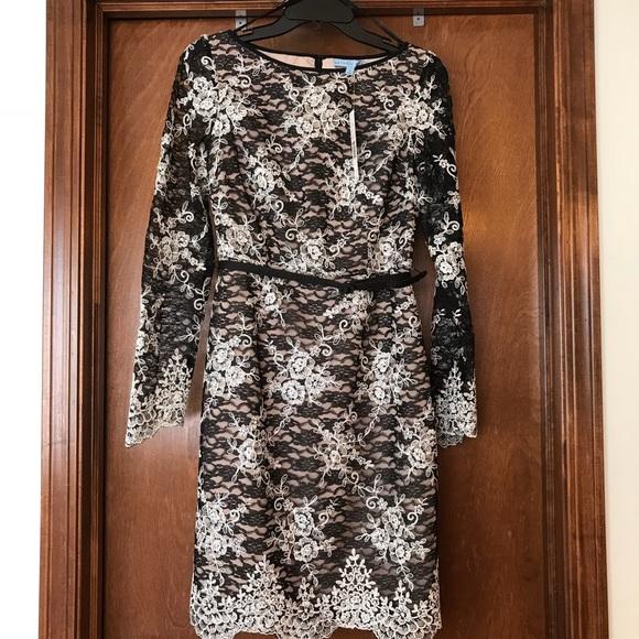 24a51ce1354 Antonio Melani Holy Ivory Black Lace Dress Size 2