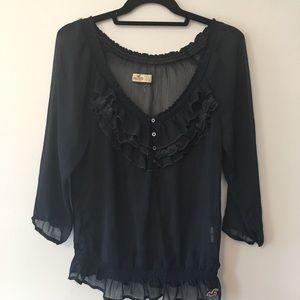 Navy sheer ruffle blouse