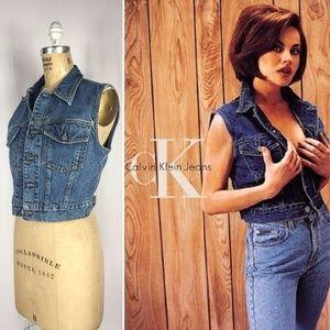 1990's CK Jeans Cropped Denim Vest USA Union Made