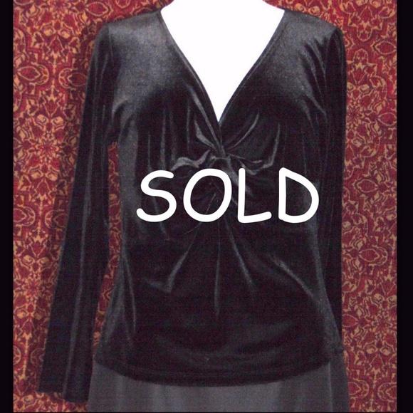 "MAGDALENA Tops - MAGDALENA black velvet long sleeve blouse B: 42"""
