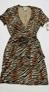 Adrianna Papéll Tiger Print Silk Dress