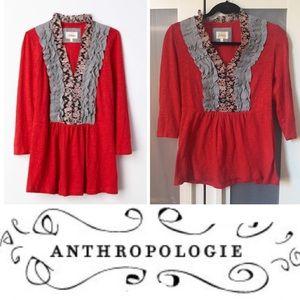 Anthropologie Deletta Printed Tuxedo Tee - Red, S