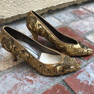 Valerie Stevens gold sequined heels