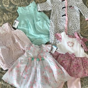 5 NWT Little Me Outfits 6-9 Months