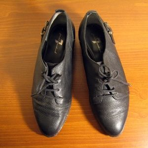 7 for all Mankind Black Leather Oxfords Sz 6