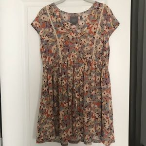 Anthropologie Floral Tunic Baby Doll Top