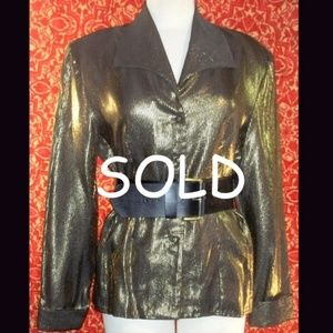 VINTAGE 70/80s GOLD Metallic blouse ONE SIZE