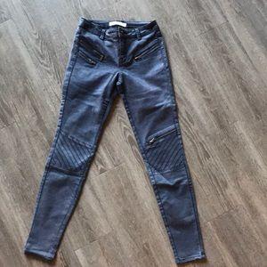 Zara Washed Blue Zippered Motor Cycle Skinny Pants