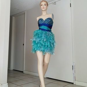 Mac Duggal feather Short Prom blue Dress