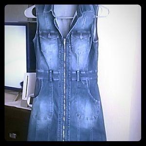 Mini denim zip up dress!!