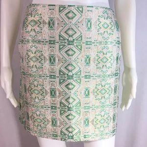 J. Crew Sz 4 Green Gold Metallic Jacquard Skirt