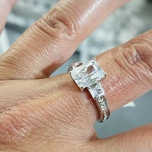 Jewelry - 14k Gold plated 3 stone Emerald cut Engagement Rin