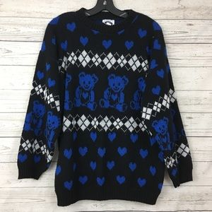 Vintage grunge teddy bear heart kawaii sweater