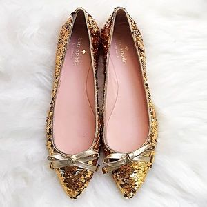 """Kate Spade """"Emma Too"""" Gold Sequin Flats Size 7"""